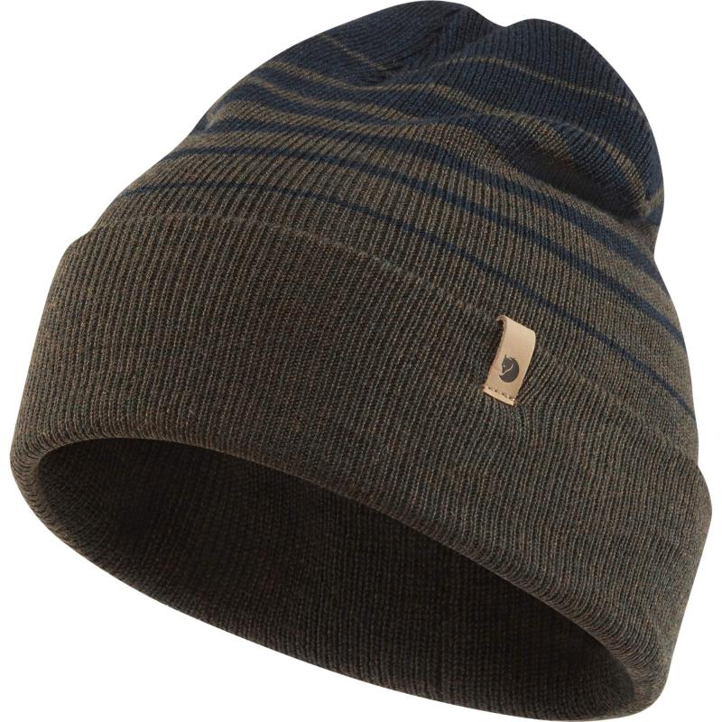 Fjall Raven Classic Striped knit hat in dark olive/dark navy