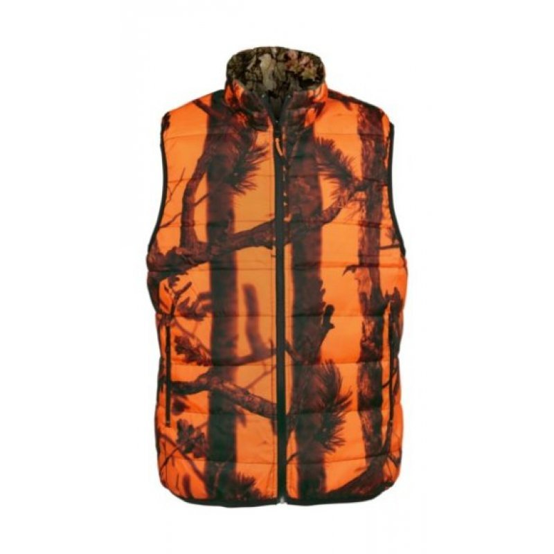 Percussion reversible warm vest Ghost camo blaze and black
