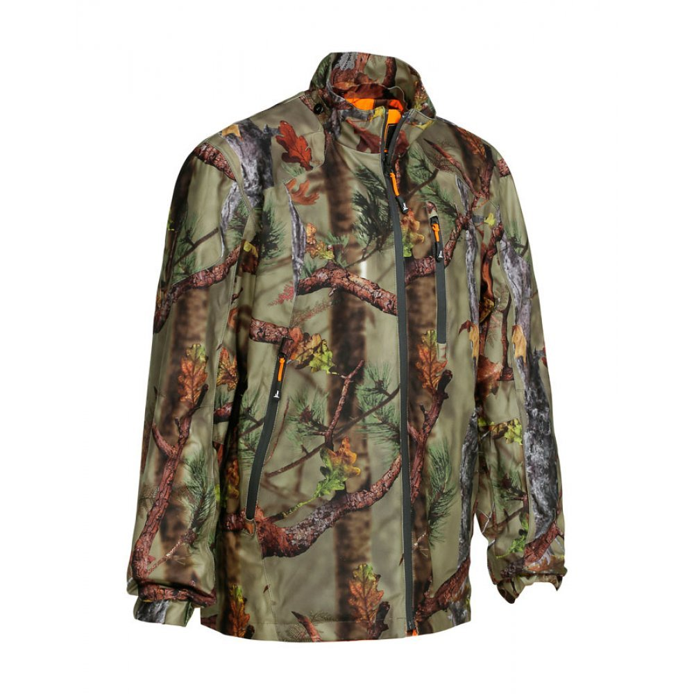Percussion Reversible camo jacket in Ghostcamo Black and blaze/forest
