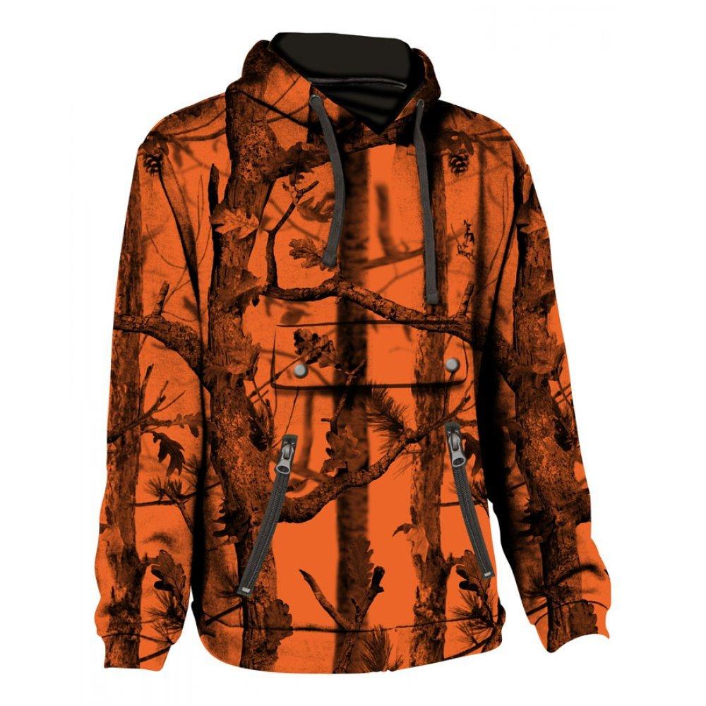 Percussion sweatshirt with hood in Ghostcamo Black and Blaze