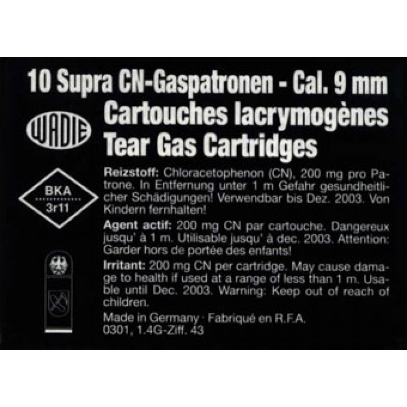 Tear gas cartridges Wadie R CN Supra 9 mm