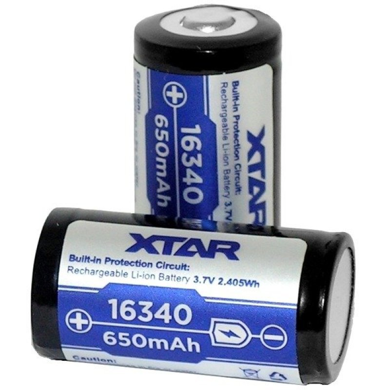Battery with protection Xtar 16340 650mAh PCM
