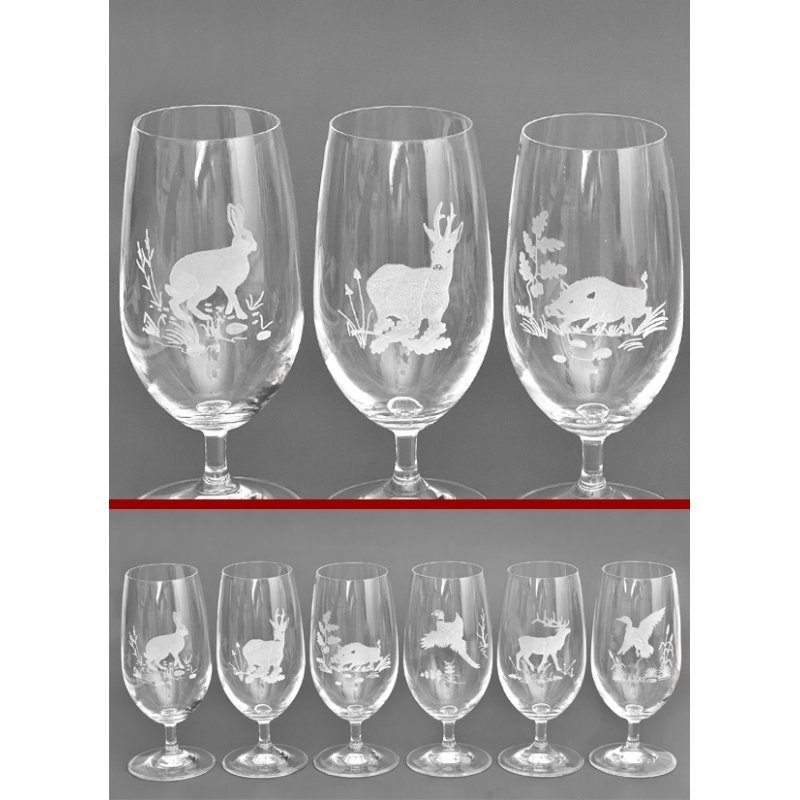 Beer glasses with hunting motives - 6 pcs.